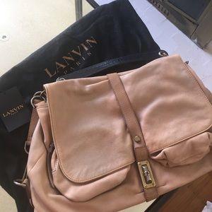 Authentic Lanvin leather beige hobo handbag
